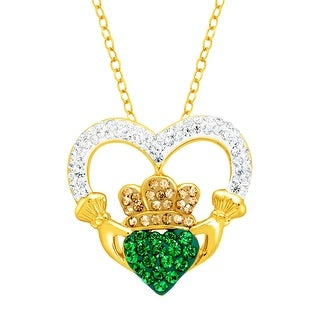 Crystaluxe Claddagh Pendant with Swarovski Crystals in 18K Gold-Plated Sterling Silver - Green