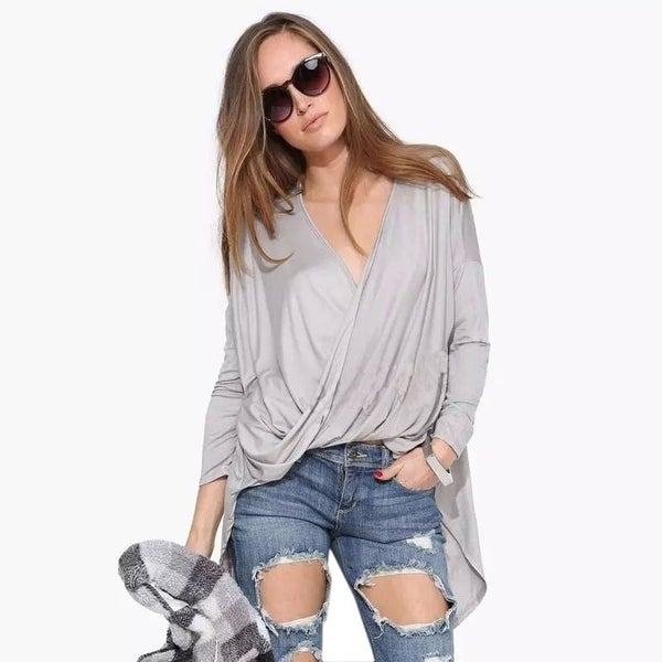 87543f60 Oversized Sexy V Neck Drapped Wrap Blouse High Low Shirt Women Blouses Plus  Size Black Grey