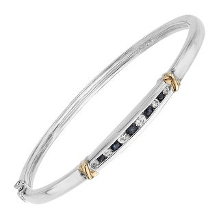 3/4 ct Natural Blue & White Sapphire Bangle Bracelet in Sterling Silver & 14K Gold