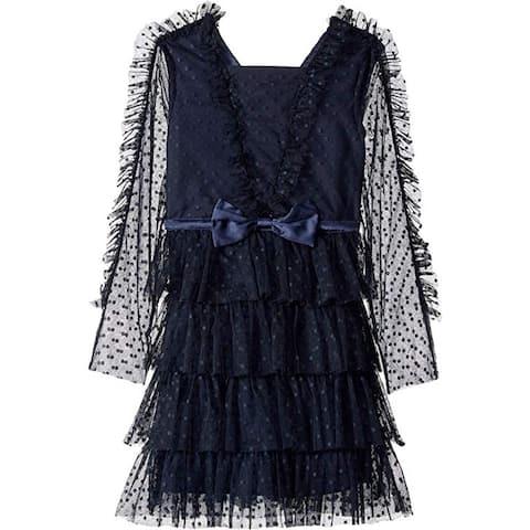 Bardot Junior Girl's Hope Mesh Dress (Big Kids), Navy, 12 (US 14 Big Kids) - 12 (US 14 Big Kids)