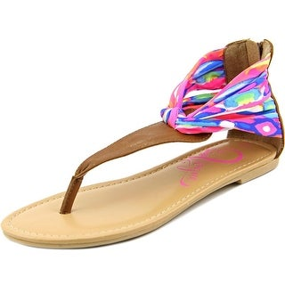 Miss Vogue Callie Youth Open Toe Canvas Multi Color Thong Sandal