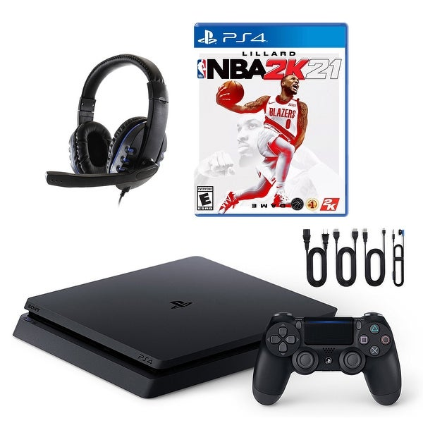 PlayStation 4 Slim with NBA 2K21 and Universal Headset - Black. Opens flyout.