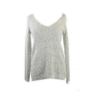 Studio M Black Ecru Long-Sleeve Boucle V-Neck Sweater XL