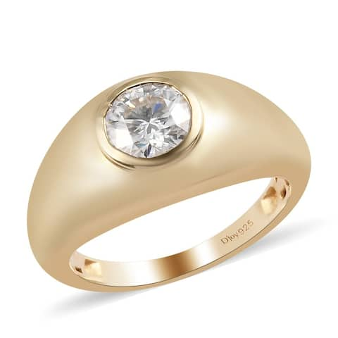 Shop LC 925 Sterling Silver Round Moissanite Solitaire Ring Vermeil
