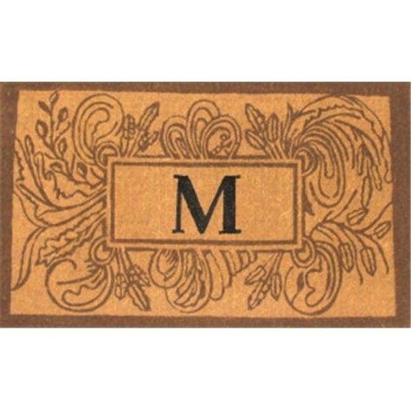 Geo Crafts G131 MARSEILLE 2439 24 x 39 in. Imperial Monogram with Leaf Design Coco Mat