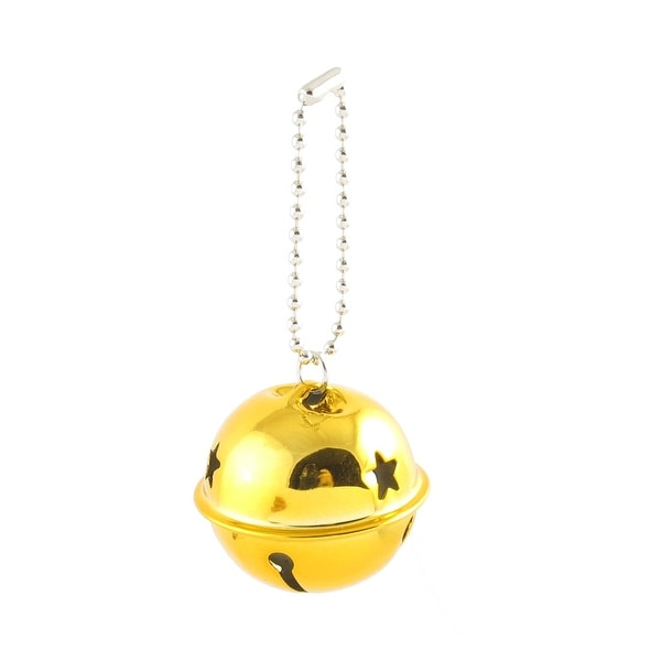 Unique Bargains Hollow Out Star Design 40mm Dia Ring Bell Decor Gold Tone for Christmas Tree