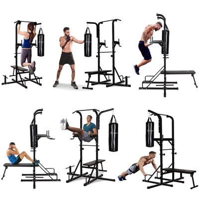 """Soozier 86"""" Full Body Power Tower Home Gym Fitness Station with Punching Bag Adjustable Sit Up Bench"""