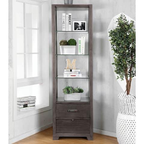 Furniture of America Nessin Transitional Gray 4-shelf Pier Cabinet