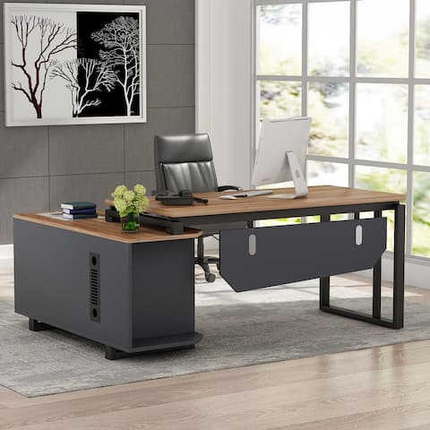 Tribesigns L-Shaped Desk with File Cabinet, 55 Inch Executive Office Desk - Walnut