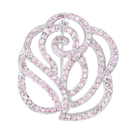 Handmade Gorgeous Cubic Zirconia Encrusted Sterling Silver Rose Brooch Pin (Thailand)