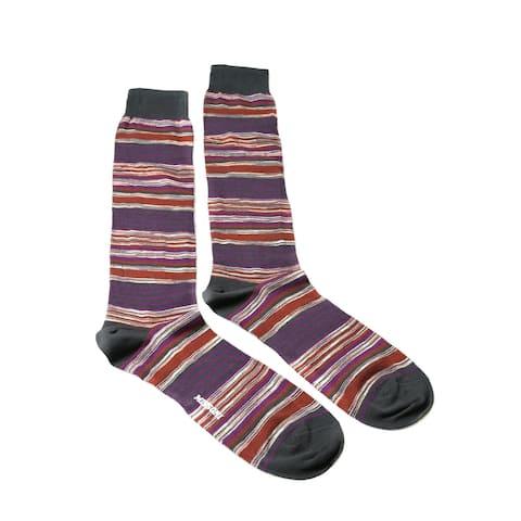 Missoni GM00CMU4658 0001 Purple/Gray Striped Knee Length Socks