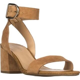 Franco Sarto Marcy Ankle Strap Block-Heel Sandals, Dark Camel