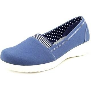 Beacon Jamie Gored Women W Round Toe Canvas Blue Loafer