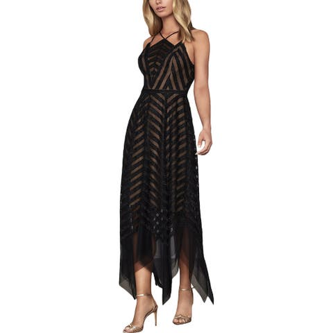 BCBG Max Azria Womens Evening Dress Metallic Tulle - Black