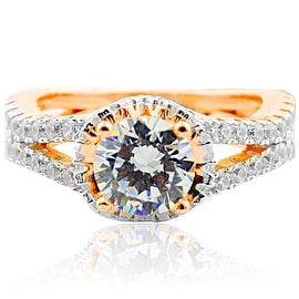 Bridal Engagement Ring Halo Style Split Shoulder Rose Gold-Tone Silver and CZ