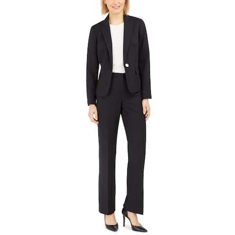 Le Suit Womens Pant Suit 2 PC Work Wear - Black/Imperial Blue