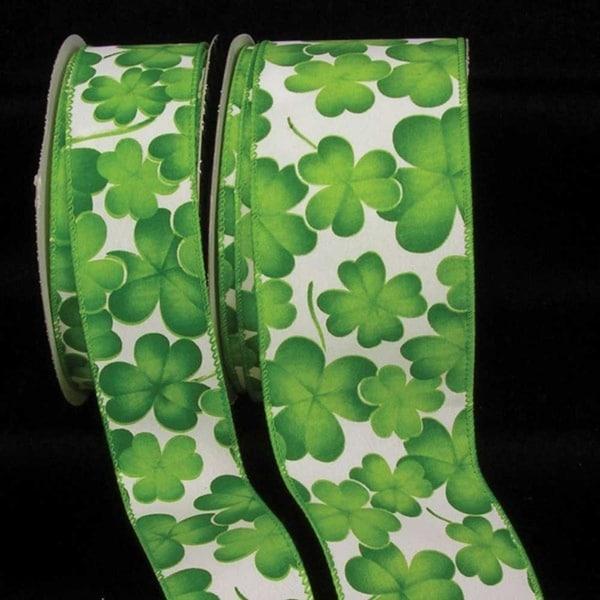 "Green Shamrock Print Wired Craft Ribbon 2.5"" x 40 Yards"