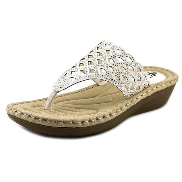 White Mountain Cameo Women Open Toe Leather White Thong Sandal