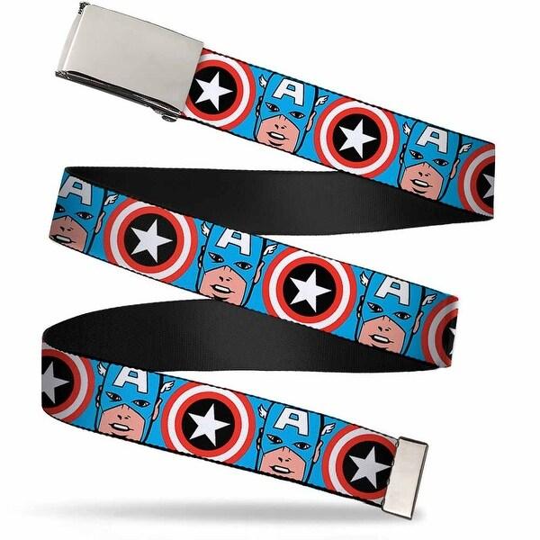 Marvel Comics Blank Chrome Buckle Captain America Face Close Up W Web Belt