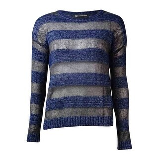 INC International Concepts Women's Striped Tape-Yarn Sweater - deep twilight - xs