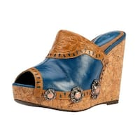YK Branded Western Shoes Womens Alpha Mare Saddled Up Camel Blue