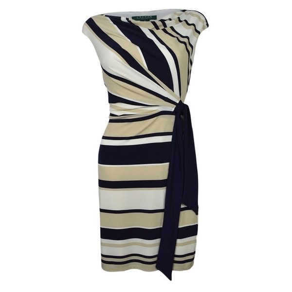 Lauren Ralph Lauren Women's Cowl Striped Belted Jersey Dress - Navy/Tan - 2