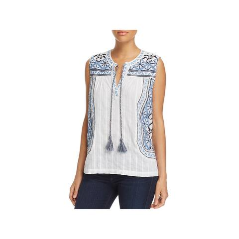Cupio Womens Casual Top Embroidered Split Neck