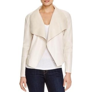Bagatelle Womens Open-Front Blazer Faux Leather Knit Sleeve