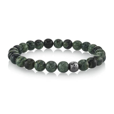 SPARTAN Men's Beaded Bracelet with Various Beads,925 Sterling Silver Connectors, Fits 7 to 8 Inch Wrists