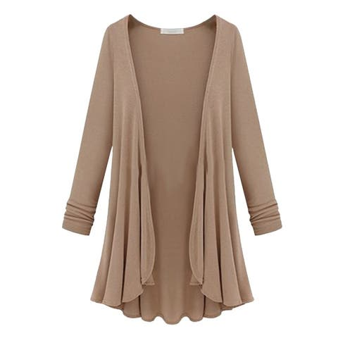 Luxe Draped Open Front Cardigan, Multiple Colors, M-3X