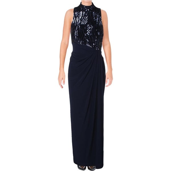 Shop Lauren Ralph Lauren Womens Meade Evening Dress Fold-Over Mock ...