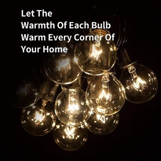 Globe String Patio Lights 34Ft with 15 Clear Bulbs for Indoor Outdoor Commercial Décor Party Wedding Garden Backyard