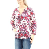 LUCKY BRAND Womens Ivory Floral Long Sleeve V Neck Hi-Lo Top  Size: L