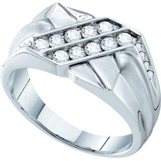 14k White Gold Round Natural Diamond Channel-Set Mens Masculine Wedding Band 5/8 Cttw