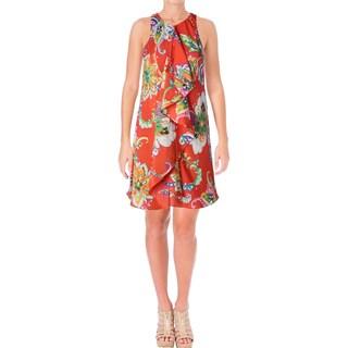 Lauren Ralph Lauren Womens Petites Casual Dress Printed Cascade Ruffle - 6P