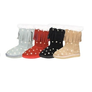 Fall Cute Star Fringe Faux Fur Lining Girls Boots 7-6