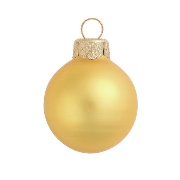 "28ct Matte Yellow Sun Glass Ball Christmas Ornaments 2"" (50mm)"