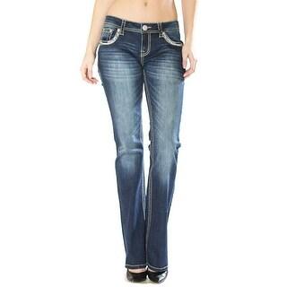 Grace in LA Denim Jeans Womens Bootcut Mid Rise Med Wash