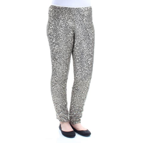 RALPH LAUREN Womens Gold Sequined Party Pants Size 10