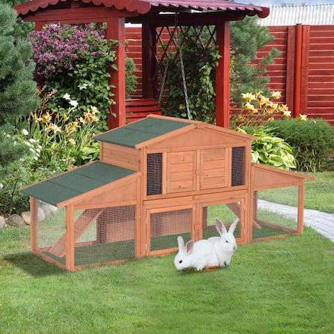 Pawhut 91-inch Wooden Rabbit Hutch/Chicken Coop with Large Outdoor Run
