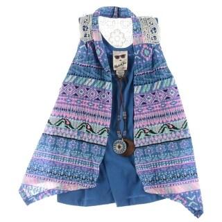 Belle du Jour Girls Vest Printed Lace Back - L