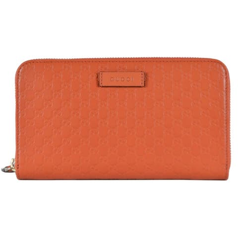 "Gucci Women's 449391 Orange Leather Micro GG Guccissima Zip Around Wallet - 7.5"" X 4.5"" X 1"""