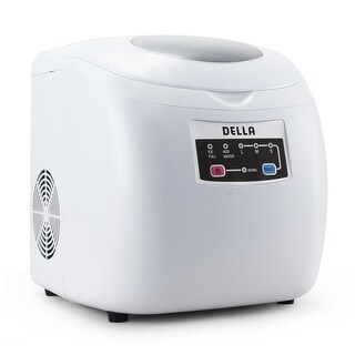 Della Portable Ice Maker Easy-Touch Buttons Countertop Machine 3-Selectable Cube Sizes White & Silver