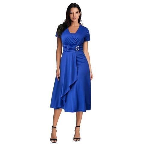 Asymmetrical Large Swing Women's High Waist Midi Dress Evening Dress