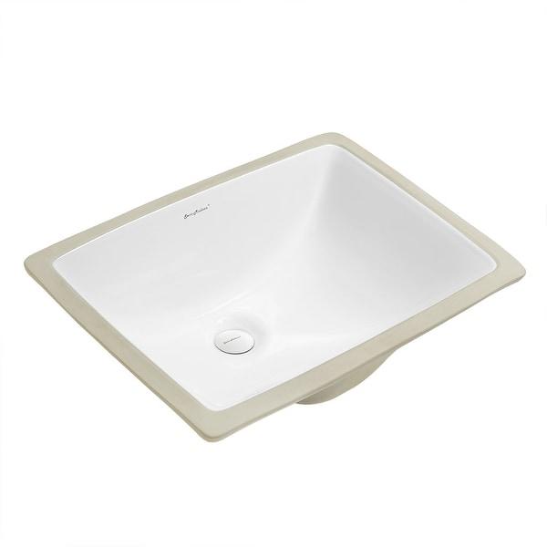 """Swiss Madison SM-UM624 Plaisir 18-1/2"""" Rectangular Undermount Ceramic Bathroom Sink with Overflow - White"""