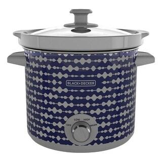 Black & Decker SC2004D Stoneware Pot Modern Slow Cooker, Blue/Gray, 4 Qt