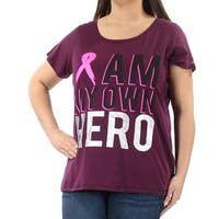 IDEOLOGY Womens Purple Cancer Awareness Short Sleeve Jewel Neck T-Shirt Top Plus  Size: 1X