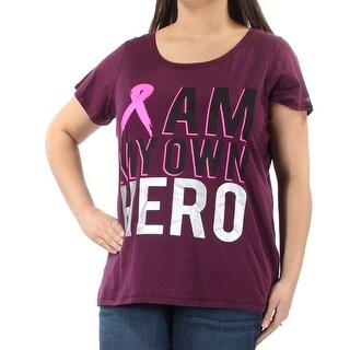 IDEOLOGY $34 Womens New 1595 Purple I am my own Hero T-Shirt 1X Plus B+B