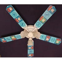 Blue Thomas the Train Print Blades 52in Ceiling Fan Light Kit - Multi