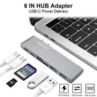 6 in 1 Type-C USB-C Hub Adapter Dual USB 3.0 Port Thunderbolt 3   for MacBook Pro